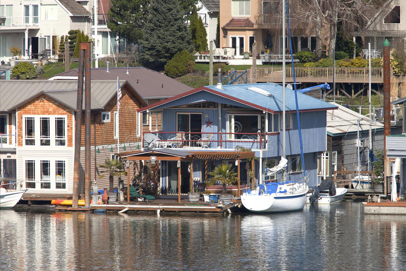 浮动的房子级别波特兰二 免版税库存图片