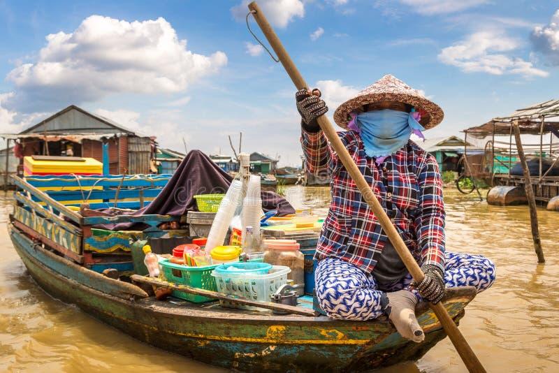 浮动的村庄在柬埔寨 免版税库存图片