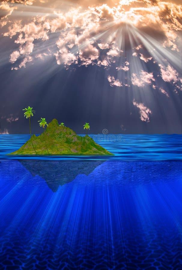 浮动的海岛 向量例证