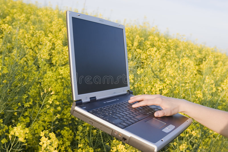 浮动的膝上型计算机 库存图片