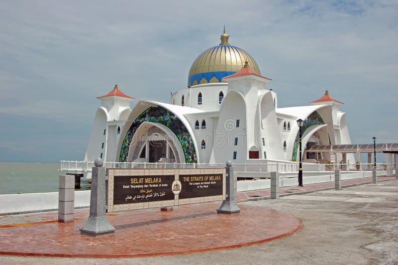 浮动的melaka清真寺selat 免版税库存照片
