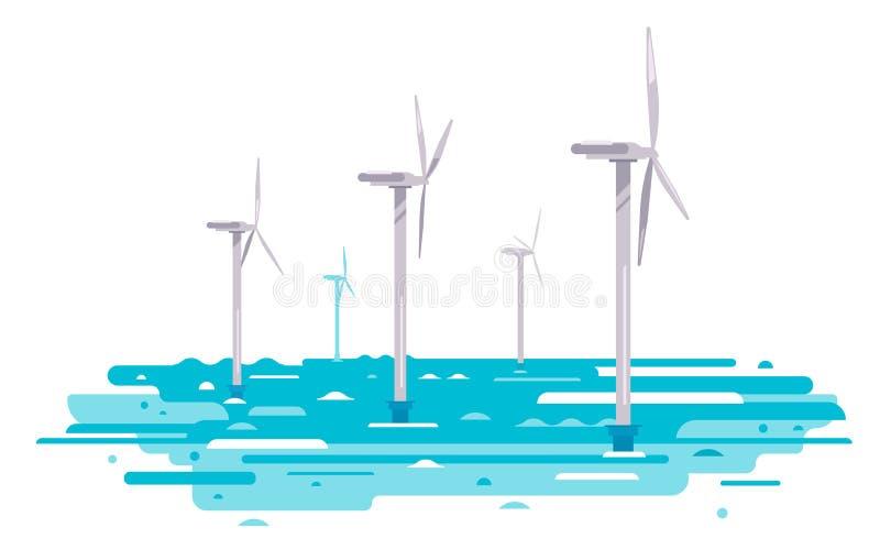 浮动风轮机例证 库存例证