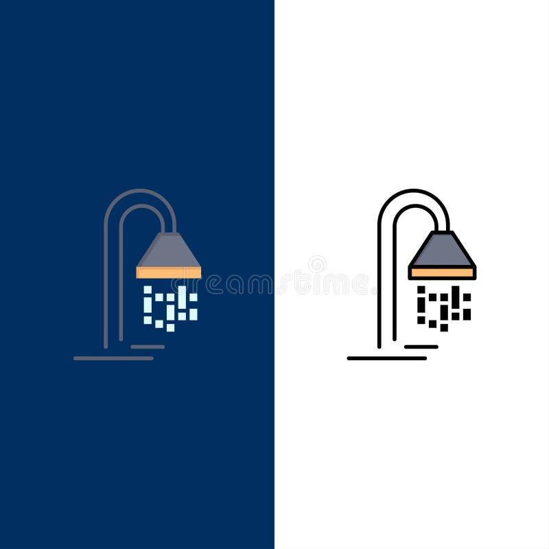 浴室、酒店、服务、淋浴图标 平整和线条填充图标设置矢量蓝背景 向量例证