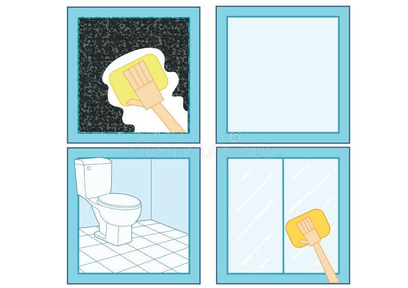 浴室清洁剂象和清洗卫生间干净的玻璃干净的玻璃 向量例证