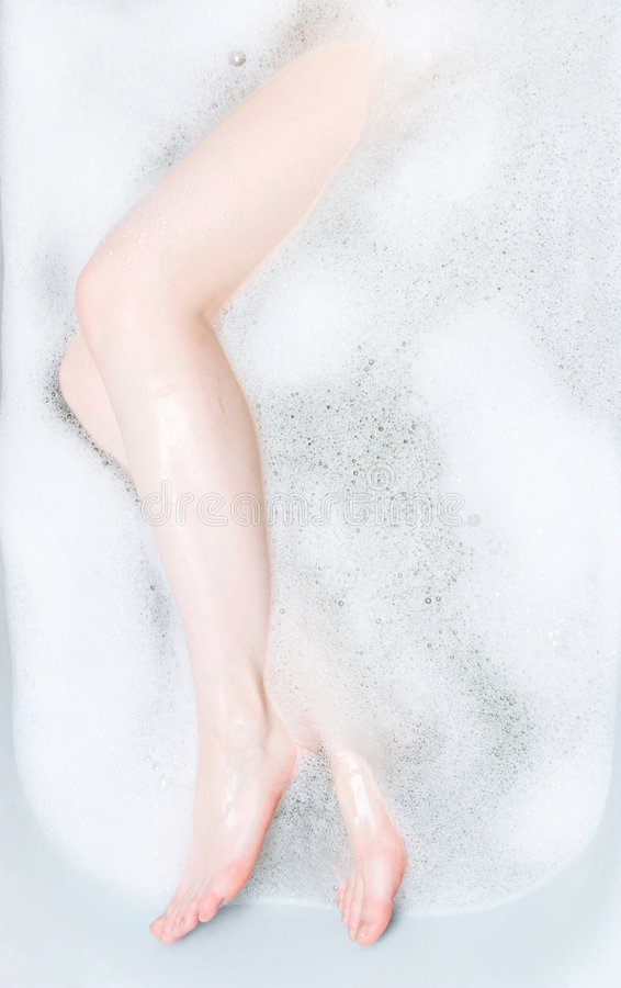 浴泡沫行程妇女 免版税库存图片