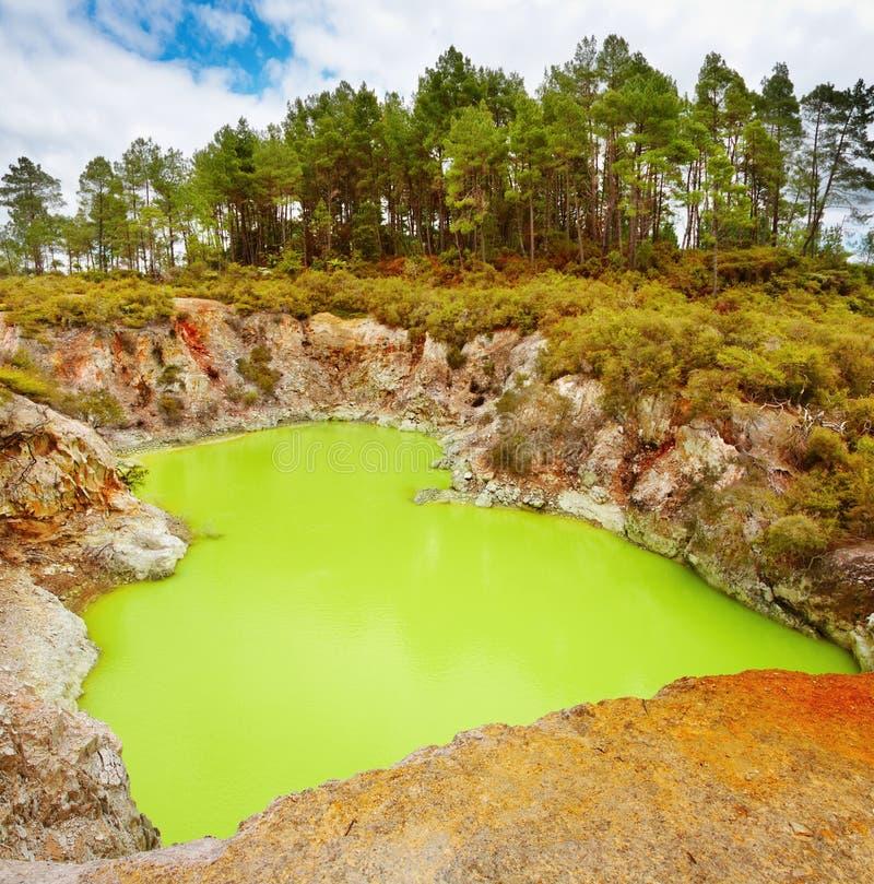 浴火山口恶魔新的s火山的西兰 免版税图库摄影