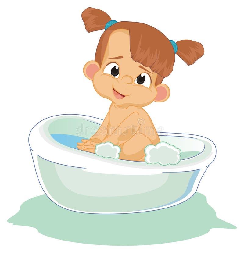 浴的愉快和赤裸女孩 库存例证