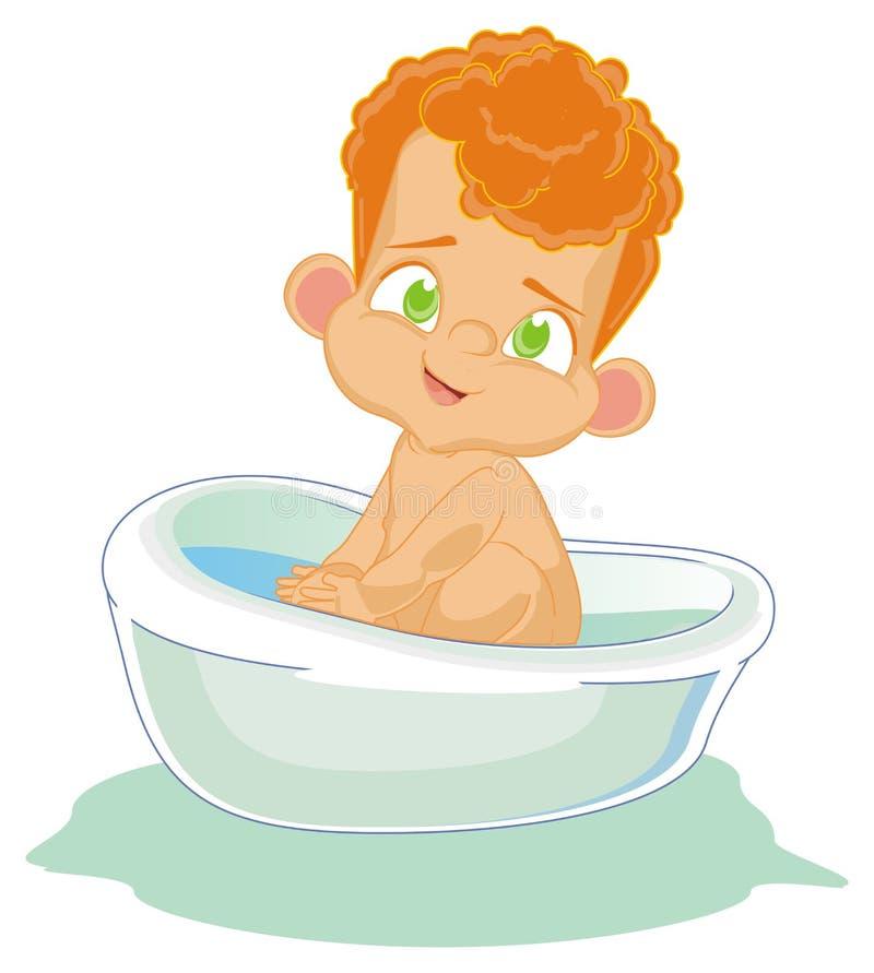 浴的赤裸男婴 皇族释放例证