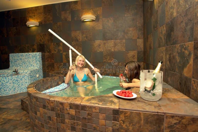 浴盆妇女 库存照片