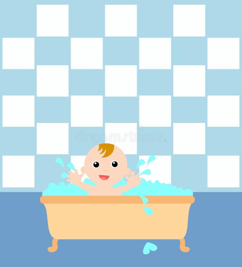 浴盆的男婴 向量例证