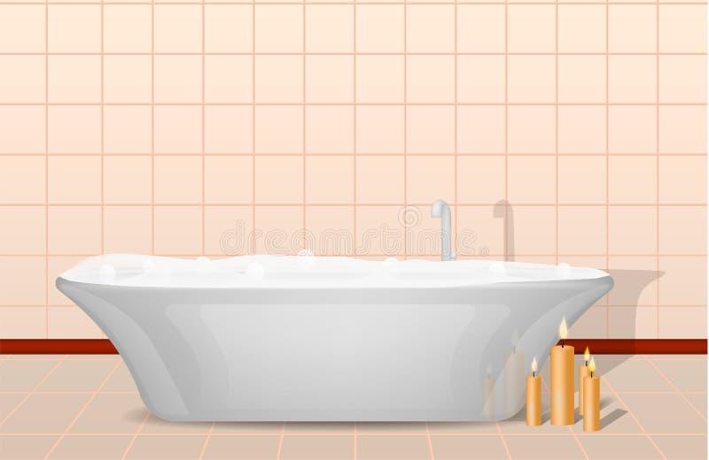 浴缸和蜡烛概念背景,现实样式 向量例证