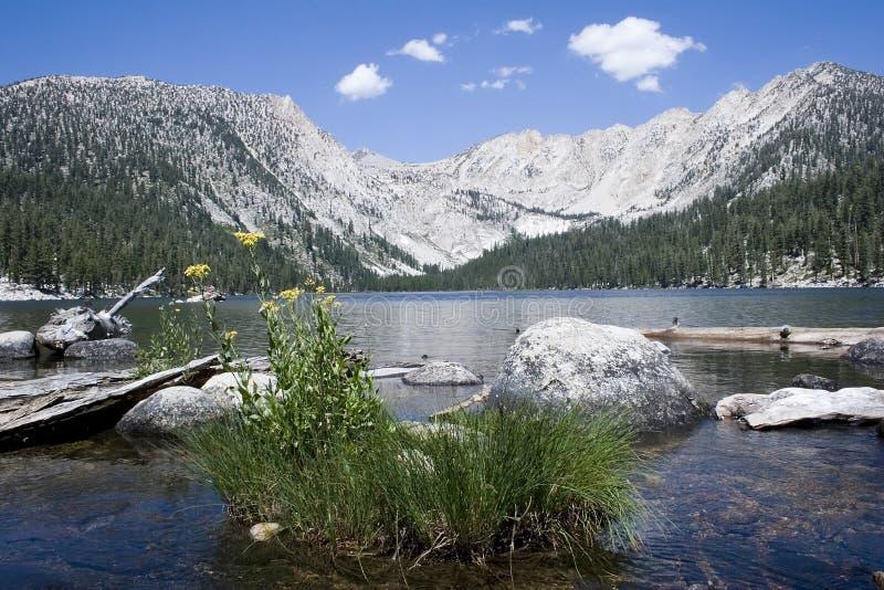 浴缸恶魔风景湖的山 库存照片