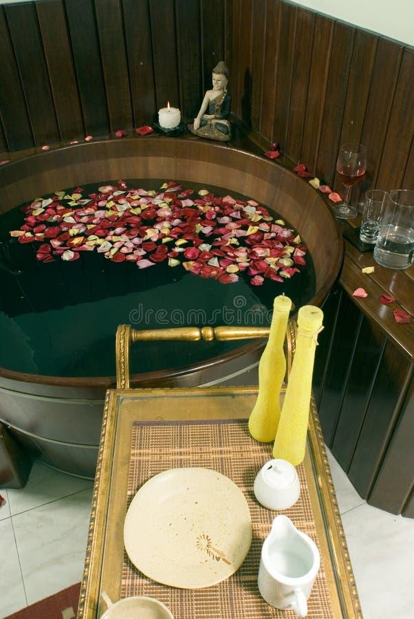 浴缸温泉垂直 免版税库存图片
