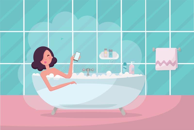 浴缸的黑发女孩有智能手机的在她的手上 与毛巾和蒸汽的卫生间内部 放松俏丽的妇女,采取  向量例证
