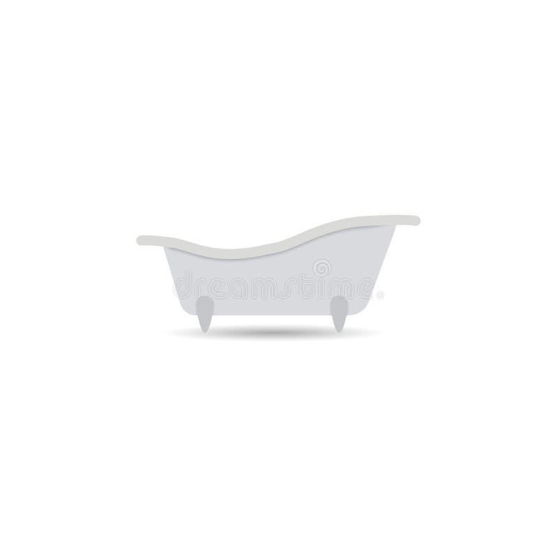 浴缸象 在轻的背景隔绝的巴恩传染媒介 阵雨的指定,蒸汽浴的概念 您设计的要素 皇族释放例证