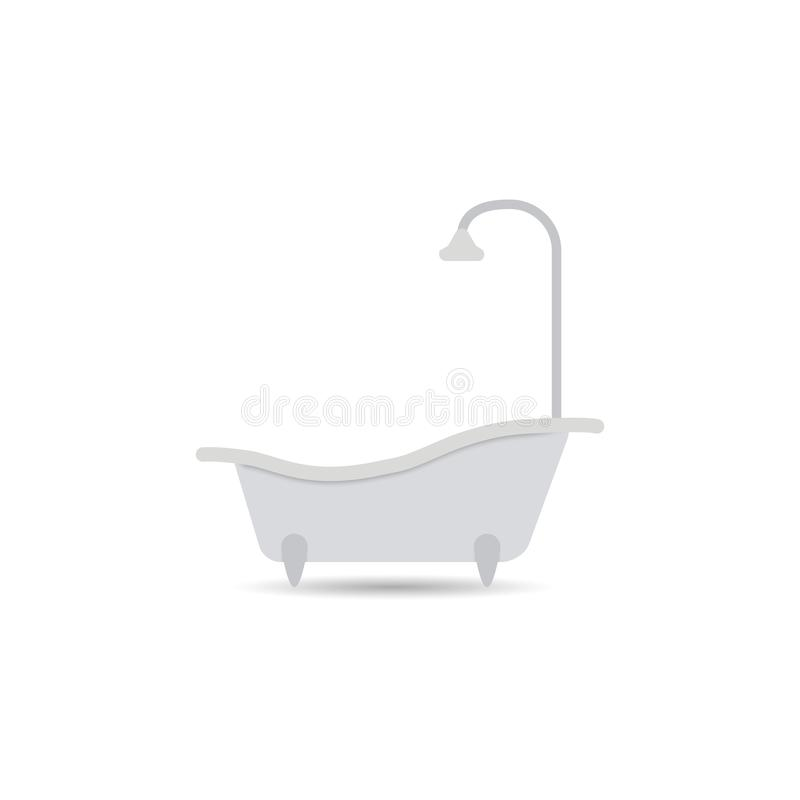 浴缸象 在轻的背景隔绝的浴缸传染媒介 您设计的要素 库存例证