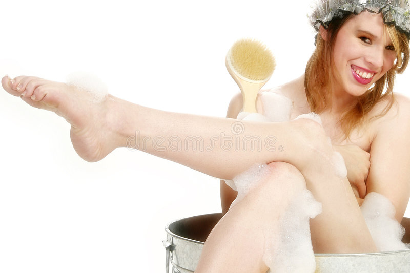 浴美丽的妇女 免版税库存照片