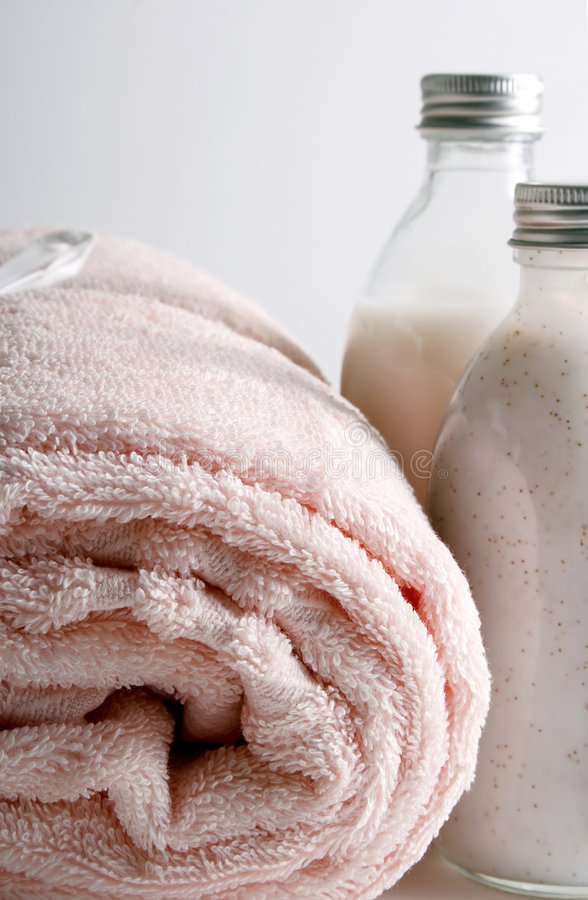 浴项目香波肥皂毛巾 图库摄影