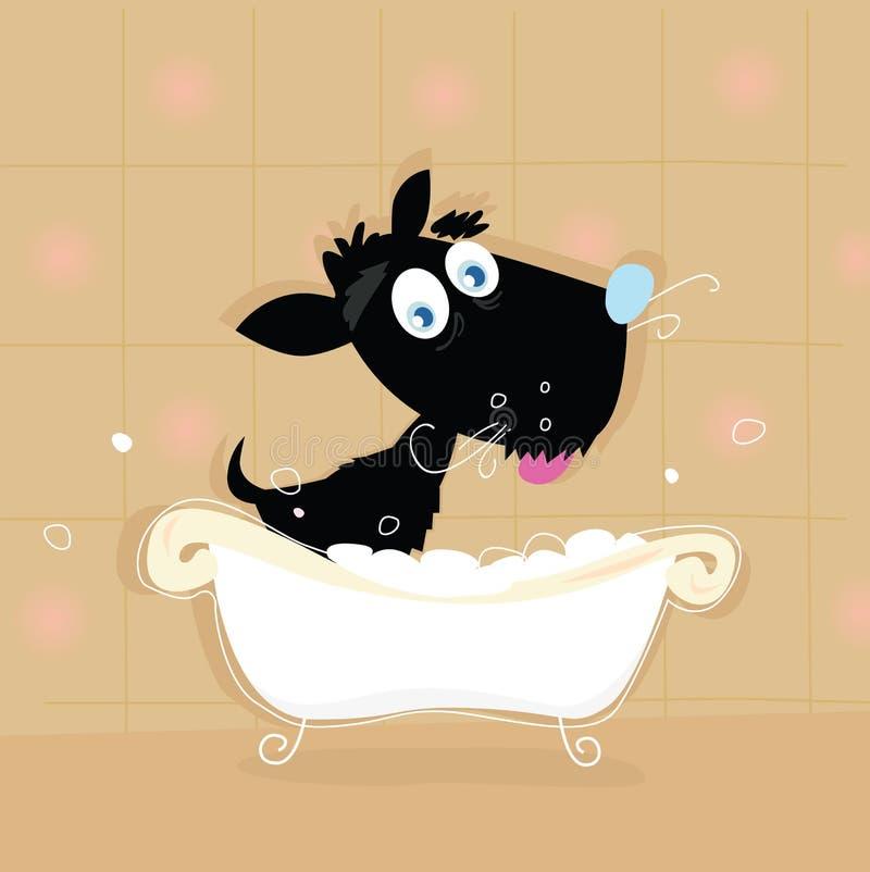 浴黑色逗人喜爱的狗 向量例证