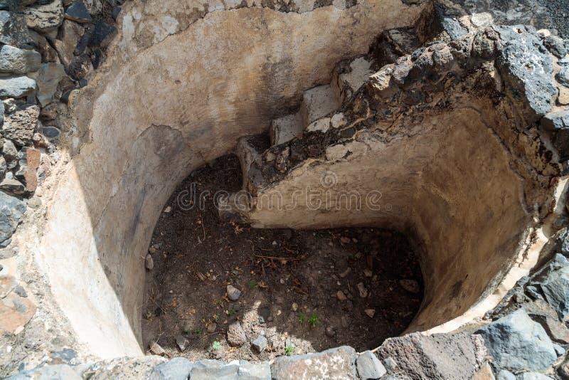 浴- Mikvah遗骸礼节洗净液的-在古老犹太市的废墟戈兰高地的Gamla毁坏的  免版税图库摄影