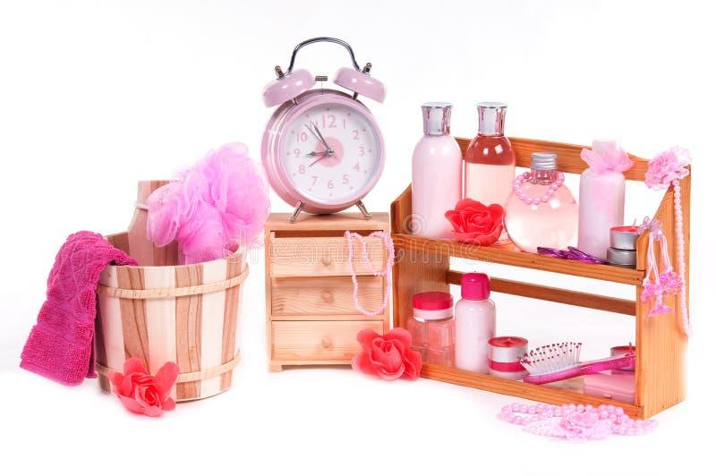 浴bodycare dofferen项目批次粉红色集 免版税库存照片