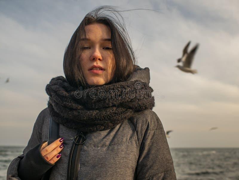 海、天空和鸥的背景的画象年轻可爱的女孩 库存图片