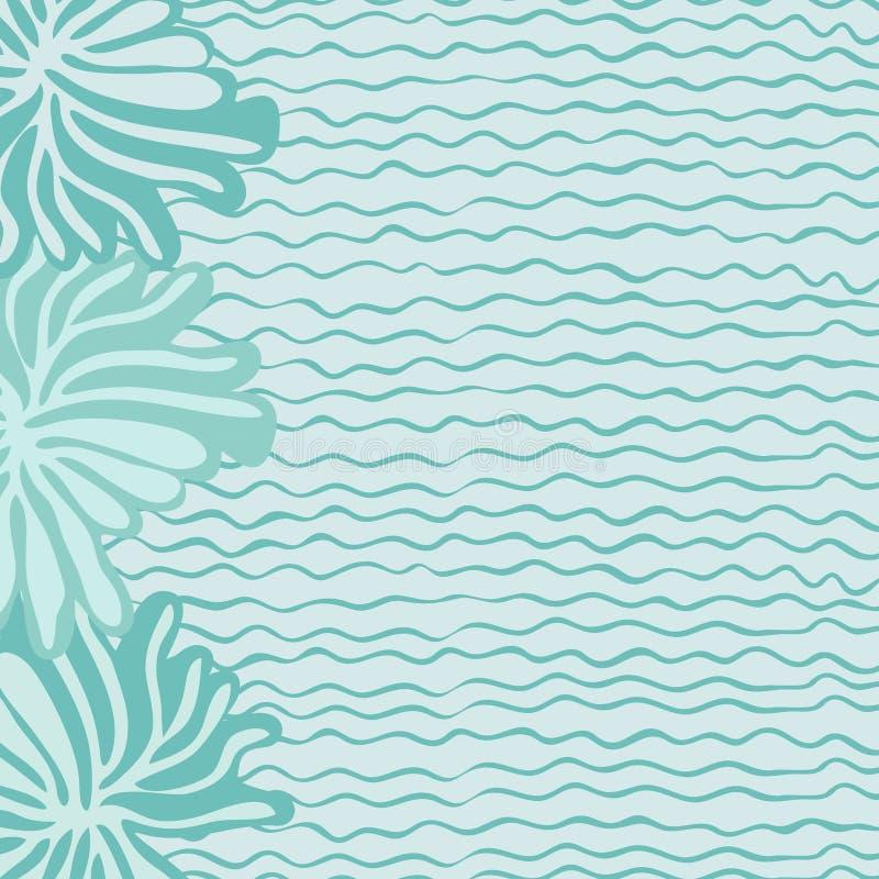 海、波浪和花 库存例证