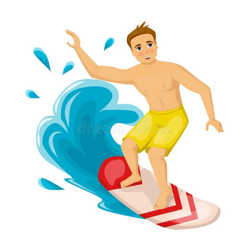 海上和海洋的暑假,冲浪在波浪 库存例证