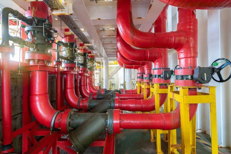 海上油气中央处理平台消防系统 免版税库存照片