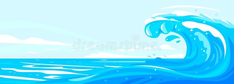 海上的伟大的美丽的波浪 皇族释放例证