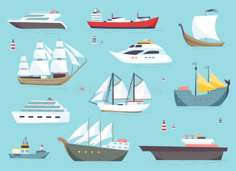 海上的船,运输的小船,海运被设置的传染媒介象 库存例证