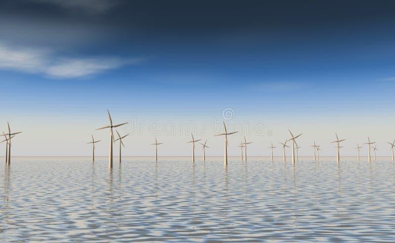海上的Windfarm 皇族释放例证