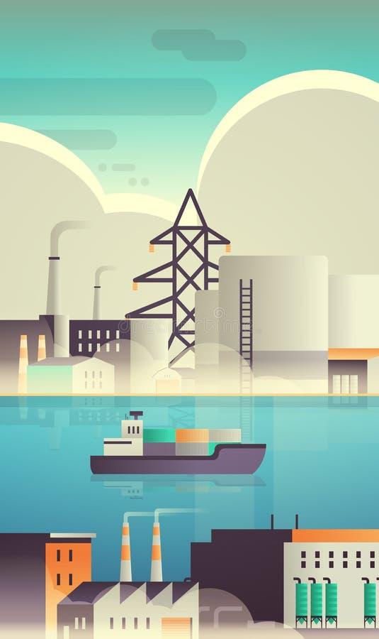 海上集装箱船在工厂建筑工业区厂房上进行管道自然污染生产 向量例证