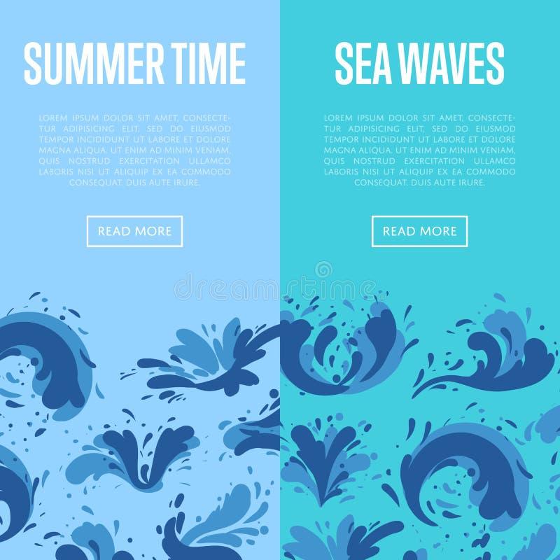 海与水飞溅元素的波浪飞行物 库存例证