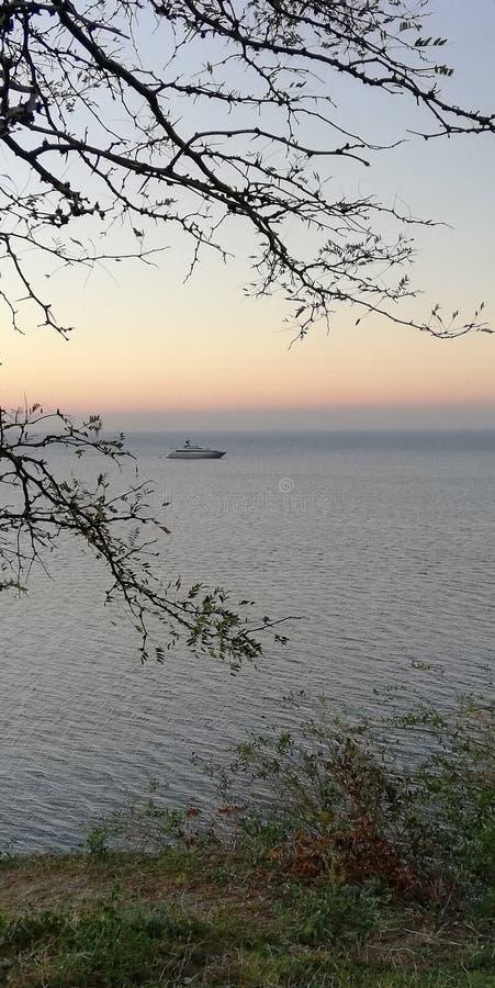 海与游艇的日落风景 背景框架是由稀薄的树枝创造的 免版税库存照片