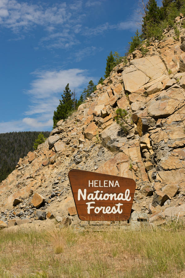 海伦娜国家森林标志美国农业部 免版税库存照片