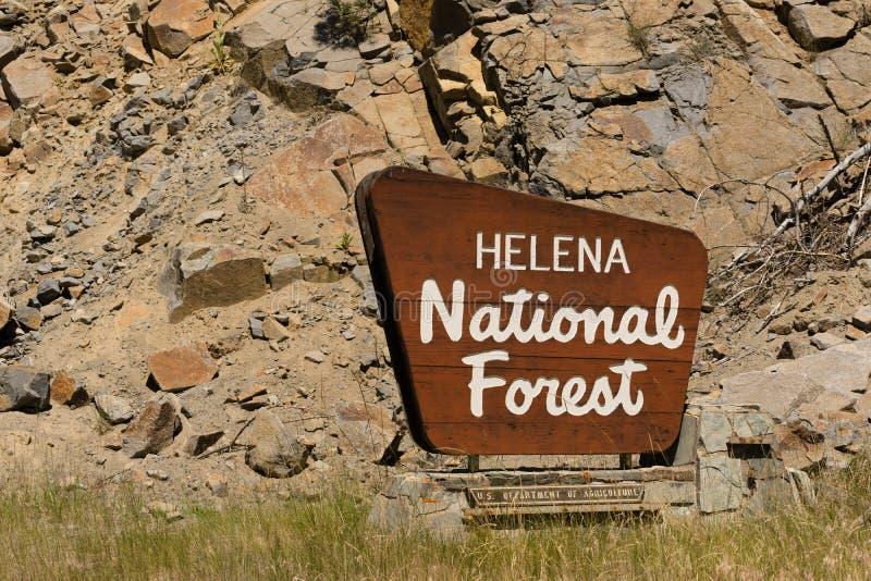 海伦娜国家森林标志美国农业部 库存照片