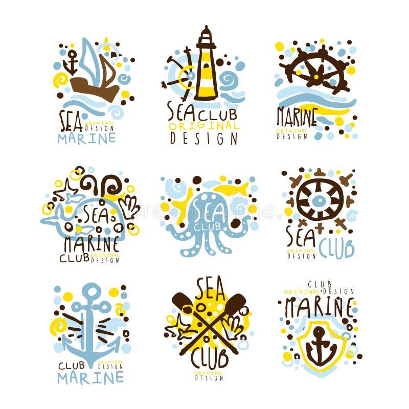 海俱乐部,标签设计的海洋俱乐部集合 游艇俱乐部,航行体育或海洋旅行传染媒介例证 向量例证