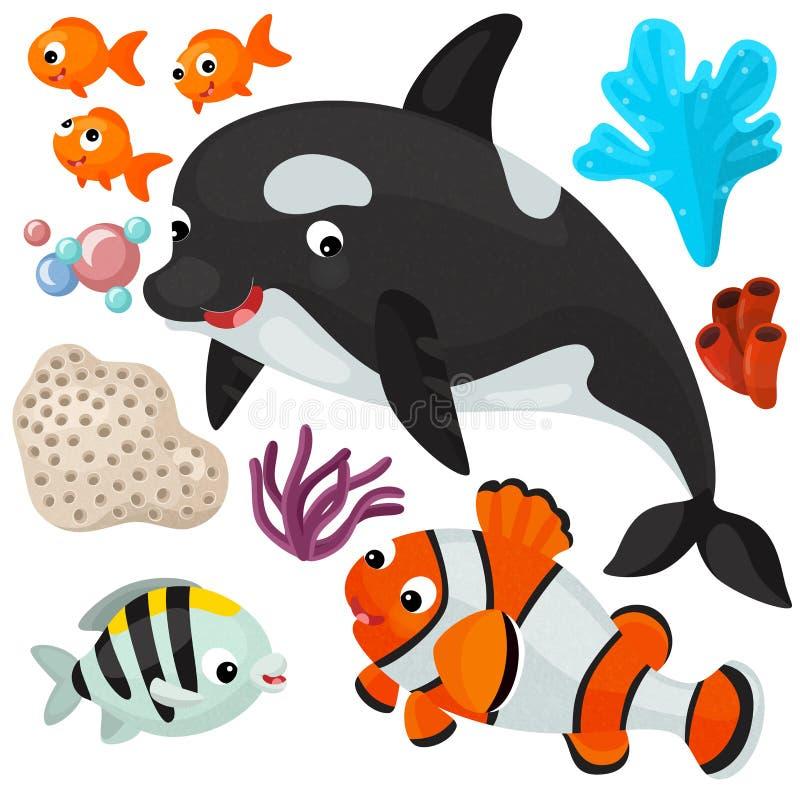 海元素和动物-例证 向量例证