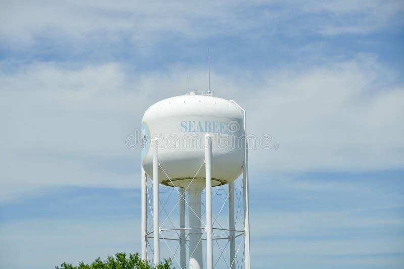 海军修建营成员水塔在海军建筑队中心, Gulfport,密西西比 免版税库存照片
