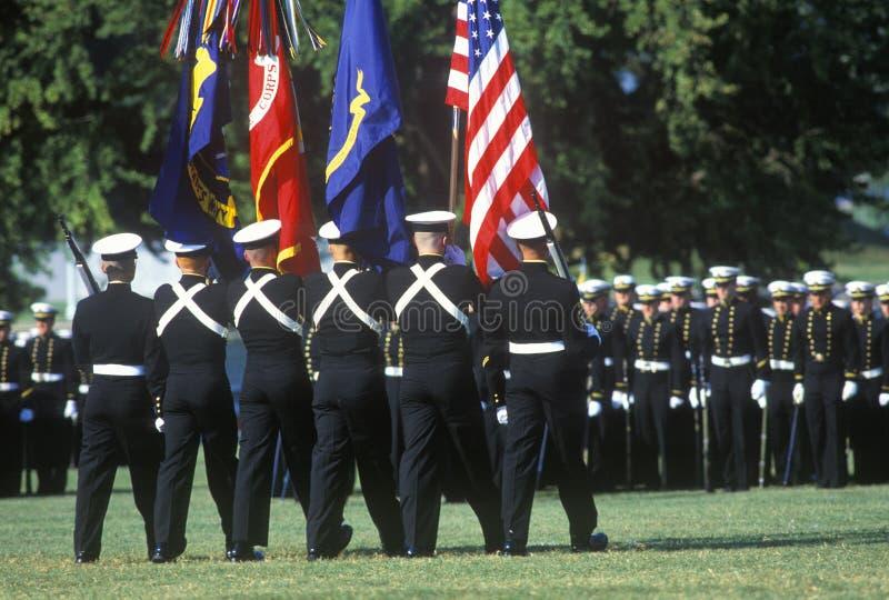 海军官校学生颜色防护具 库存照片