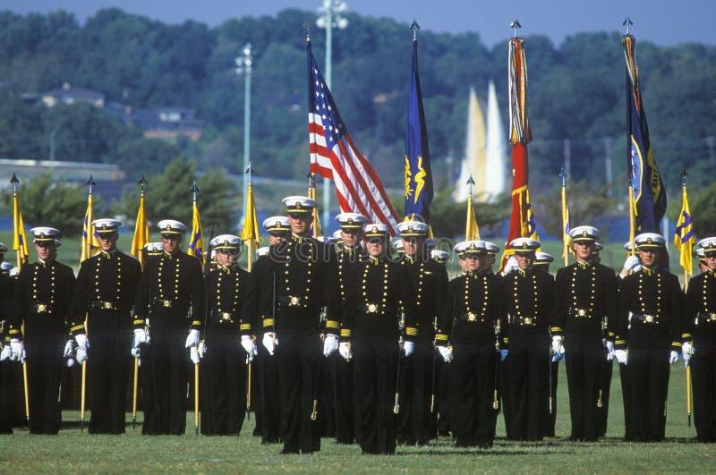 海军官校学生,美国海军学院,安纳波利斯,马里兰 免版税库存照片