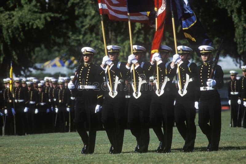 海军官校学生仪仗队,美国海军学院,安纳波利斯,马里兰 免版税库存图片