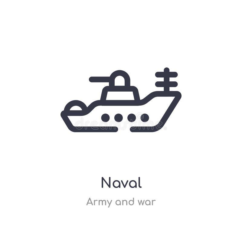 海军概述象 r 编辑可能的稀薄的在白色的冲程海军象 向量例证