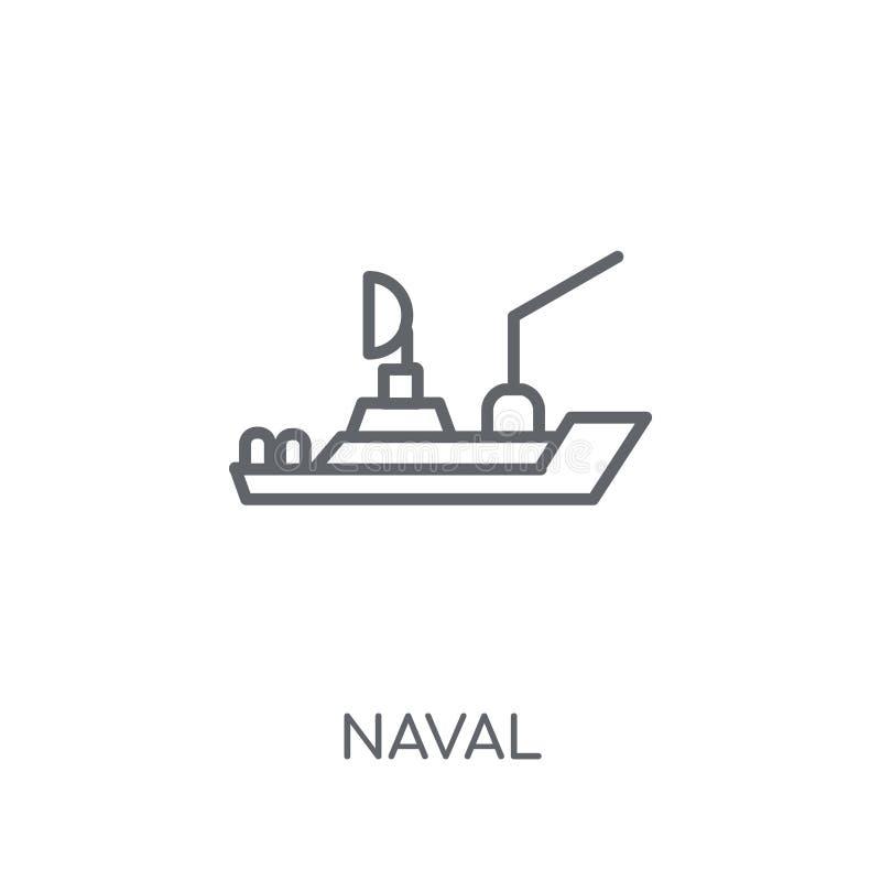 海军线性象 现代在白色ba的概述海军商标概念 向量例证