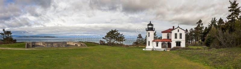 海军部头灯塔,堡垒凯西,华盛顿 免版税库存图片