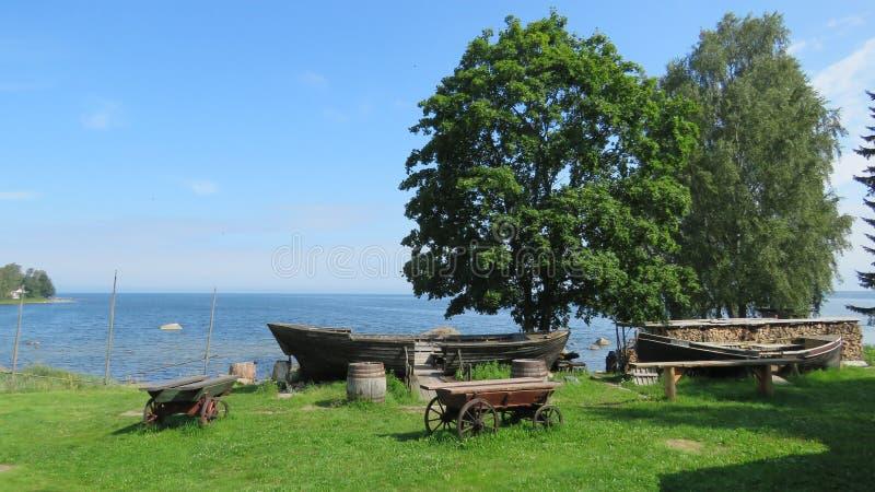 海博物馆老小船在Lahemaa国家公园爱沙尼亚 免版税库存照片