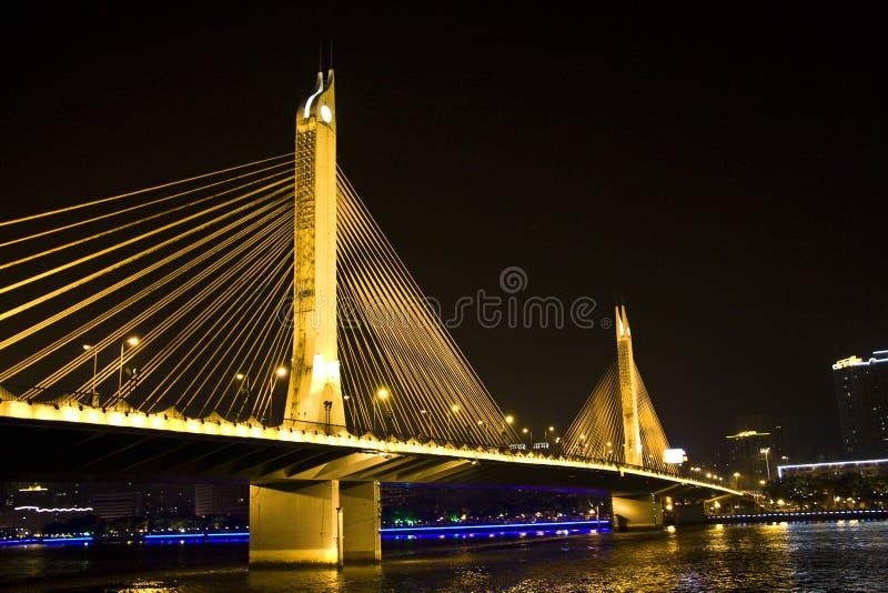 海印大桥夜视图在广州,广东,中国 12 库存照片