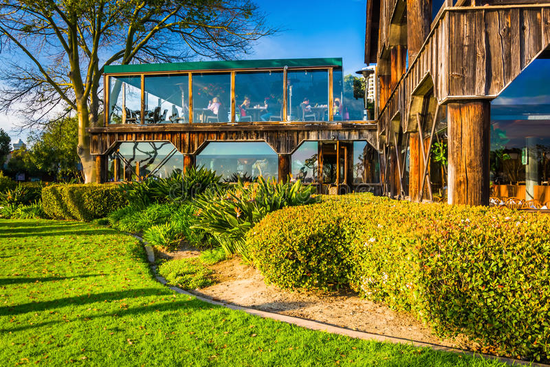 海口村庄的餐馆在圣地亚哥,加利福尼亚 免版税库存照片