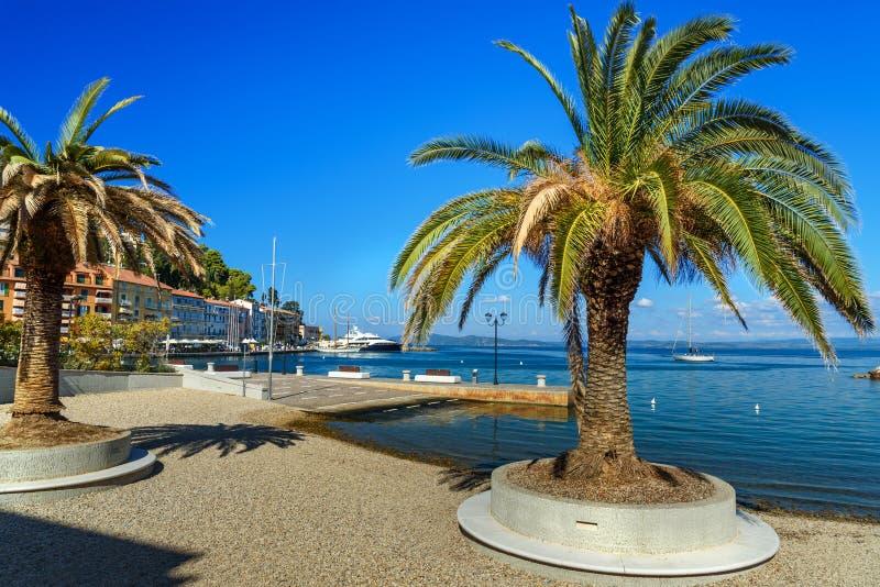 海口镇圣港斯特凡诺沿海岸区在蒙泰亚尔真塔廖 托斯卡纳 意大利 免版税图库摄影